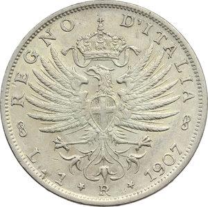 reverse: Regno di Italia. Vittorio Emanuele III (1900-1943). Lira 1907.    Pag. 767. Mont. 192. AG.      BB/BB+.