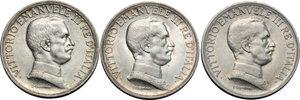 obverse: Regno di Italia. Vittorio Emanuele III (1900-1943). Lotto di 3 monete da 1 lira: 1915, 1916, 1917.    Pag. 773-775. Mont. 200-202. AG.   mm. 23.00  R.  qFDC.