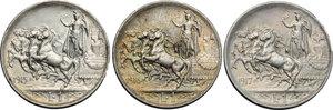reverse: Regno di Italia. Vittorio Emanuele III (1900-1943). Lotto di 3 monete da 1 lira: 1915, 1916, 1917.    Pag. 773-775. Mont. 200-202. AG.   mm. 23.00  R.  qFDC.
