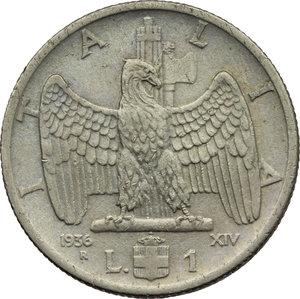 reverse: Regno di Italia. Vittorio Emanuele III (1900-1943). 1 lira 1936.    Pag. 789. Mont. 218. NI.    R.  qBB/BB.