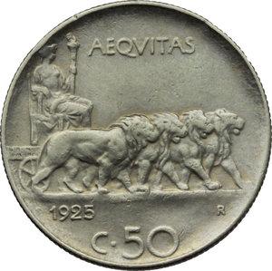 reverse: Regno di Italia. Vittorio Emanuele III (1900-1943). 50 centesimi 1925.    Pag. 807. Mont. 244. NI.    NC. Bel BB.
