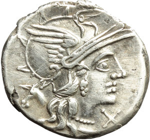 obverse: M. Iunius Silanus.  AR Denarius, 145 BC. Obv. Helmeted head of Roma right; below chin, X; behind, ass s head. Rev. The Dioscuri galloping right; below horses, M. IVNI; in exergue, ROMA. Cr. 220/1. B.8. AR. g. 4.09  mm. 19.00   Sound metal and full weight. Brilliant, superb and lightly toned. EF/About EF.