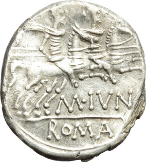reverse: M. Iunius Silanus.  AR Denarius, 145 BC. Obv. Helmeted head of Roma right; below chin, X; behind, ass s head. Rev. The Dioscuri galloping right; below horses, M. IVNI; in exergue, ROMA. Cr. 220/1. B.8. AR. g. 4.09  mm. 19.00   Sound metal and full weight. Brilliant, superb and lightly toned. EF/About EF.