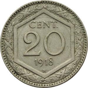 reverse: Regno di Italia. Vittorio Emanuele III (1900-1943). 20 centesimi 1918 (esagono).    Pag. 850. Mont. 298. NI.      qFDC.