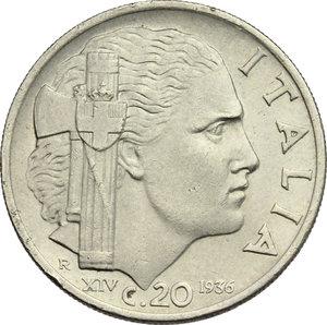 reverse: Regno di Italia. Vittorio Emanuele III (1900-1943). 20 centesimi 1936.    Pag. 853. Mont. 305. NI.    RR. Colpetti. BB.
