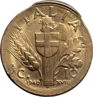 reverse: Regno di Italia. Vittorio Emanuele III (1900-1943). 10 centesimi 1940 A. XVIII, ERRORE DI CONIAZIONE.     AE.      FDC.