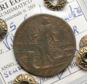 reverse: Regno di Italia. Vittorio Emanuele III (1900-1943). 5 centesimi 1913, senza punto.    Pag. 895. CU.    RR. Perizia Ranieri ( MB) MB.
