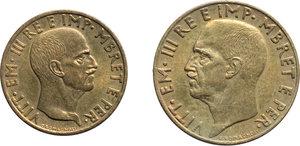 obverse: Albania. Vittorio Emanuele III (1900-1943). Lotto di due monete: 0,10 e 0,05 lek 1940 A. XVIII.     Bronzital.      FDC.