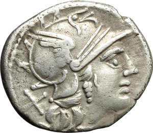 obverse: P. Aelius Paetus.  AR Denarius, 138 BC. Obv. Helmeted head of Roma right; behind, X. Rev. The Dioscuri galloping right; below, P. PAETVS; in exergue, ROMA. Cr. 233/1. AR. g. 3.71  mm. 19.50   Good metal. Nicely toned. Good VF.