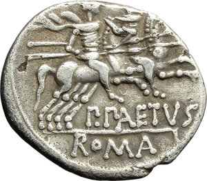 reverse: P. Aelius Paetus.  AR Denarius, 138 BC. Obv. Helmeted head of Roma right; behind, X. Rev. The Dioscuri galloping right; below, P. PAETVS; in exergue, ROMA. Cr. 233/1. AR. g. 3.71  mm. 19.50   Good metal. Nicely toned. Good VF.