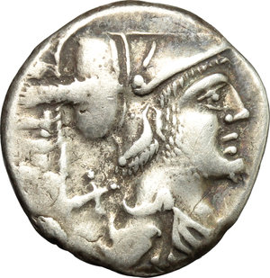 obverse: Ti. Veturius.  AR Denarius, 137 BC. Obv. Draped bust of Mars right, X and TI. VET behind. Rev. Sacerdos fecialis kneeling left, between two warriors who touch with their swords a pig which he holds. Above, ROMA. Cr. 234/1. B. 1. AR. g. 3.91  mm. 19.00   Good metal. Nicely toned. VF.