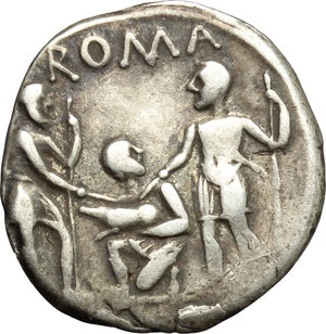 reverse: Ti. Veturius.  AR Denarius, 137 BC. Obv. Draped bust of Mars right, X and TI. VET behind. Rev. Sacerdos fecialis kneeling left, between two warriors who touch with their swords a pig which he holds. Above, ROMA. Cr. 234/1. B. 1. AR. g. 3.91  mm. 19.00   Good metal. Nicely toned. VF.