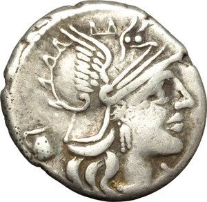 obverse: Sex. Pompeius Fostlus.  AR Denarius, 137 BC. Obv. Helmeted head of Roma right; below chin, X; behind, jug. Rev. SEX.PO FOSTLVS. She-wolf suckling twins; behind, Ficus Ruminalis; in left field, the shepherd Faustulus leaning on staff; in exergue, ROMA. Cr. 235/1c. B.1. AR. g. 3.96  mm. 19.50   Full weight. Light cabinet tone. VF.