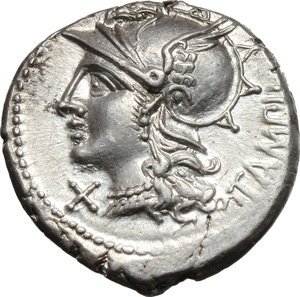 obverse: M. Baebius Q. f. Tampilus.  AR Denarius, 137 BC. Obv. Helmeted head of Roma left, X below chin, TAMPIL behind. Rev. Apollo in quadriga right, ROMA below horses, M. BAEBI. Q. F. in exergue. Cr. 236/1. B. 12. AR. g. 3.93  mm. 19.00   Insignificant area of weakness on reverse, otherwise about FDC.