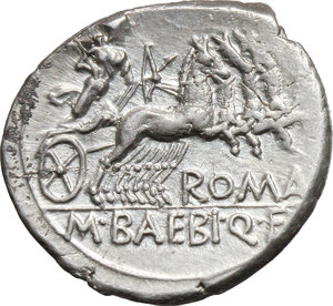 reverse: M. Baebius Q. f. Tampilus.  AR Denarius, 137 BC. Obv. Helmeted head of Roma left, X below chin, TAMPIL behind. Rev. Apollo in quadriga right, ROMA below horses, M. BAEBI. Q. F. in exergue. Cr. 236/1. B. 12. AR. g. 3.93  mm. 19.00   Insignificant area of weakness on reverse, otherwise about FDC.