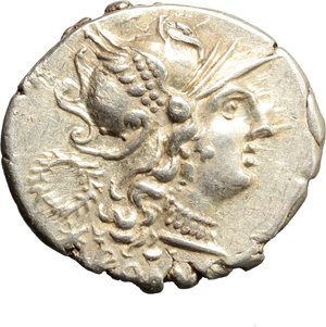 obverse: C. Servilius M.f.  AR Denarius, 136 BC. Obv. Helmeted head of Roma right; behind, wreath; below, X and ROMA. Rev. The Dioscuri galloping in opposite directions; in exergue, C. SERVEILI. M.F. Cr. 239/1. B.1. AR. g. 3.96  mm. 20.00   Good metal, full weight and broad flan. Brilliant and prettily toned. A little off centre on reverse, otherwise EF/About EF.