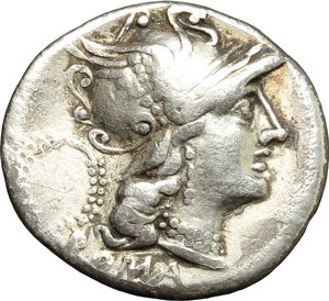 obverse: C. Servilius M.f.  AR Denarius, 136 BC. Obv. Helmeted head of Roma right; behind, wreath; below, [X] and ROMA. Rev. The Dioscuri galloping in opposite directions; in exergue, C. SERVEILI. M.F. Cr. 239/1. B.1. AR. g. 3.54  mm. 19.00   Lightly toned. VF.