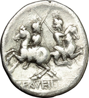 reverse: C. Servilius M.f.  AR Denarius, 136 BC. Obv. Helmeted head of Roma right; behind, wreath; below, [X] and ROMA. Rev. The Dioscuri galloping in opposite directions; in exergue, C. SERVEILI. M.F. Cr. 239/1. B.1. AR. g. 3.54  mm. 19.00   Lightly toned. VF.