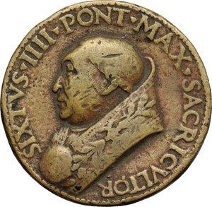 D/ Sisto IV (1471-1484), Francesco Della Rovere. Medaglia per le opere pubbliche promosse dal Pontefice.     AE.   mm. 39.50  R.  BB.