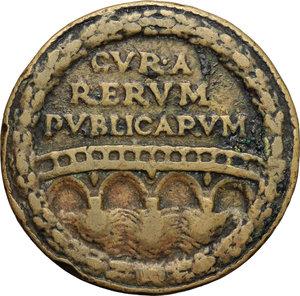 R/ Sisto IV (1471-1484), Francesco Della Rovere. Medaglia per le opere pubbliche promosse dal Pontefice.     AE.   mm. 39.50  R.  BB.