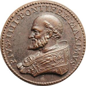 D/ Pio IV (1559-1565), Gian Angelo de' Medici. Medaglia A. 1561 per la consacrazione della chiesa romana di Santa Caterina dei Funari.    Lincoln 618. AE.   mm. 34.00    SPL+/qFDC.