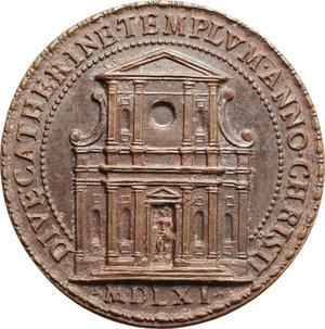 R/ Pio IV (1559-1565), Gian Angelo de' Medici. Medaglia A. 1561 per la consacrazione della chiesa romana di Santa Caterina dei Funari.    Lincoln 618. AE.   mm. 34.00    SPL+/qFDC.
