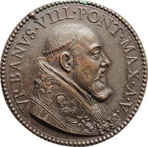 D/ Urbano VIII (1623-1644), Maffeo Barberini. Medaglia A. V con Busto di Cristo.    Lincoln 919. AE.   mm. 37.00   Rottura di conio, altrimenti qFDC.