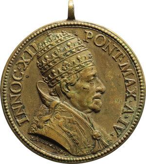 D/ Innocenzo XII (1691-1700),  Antonio Pignatelli. Medaglia A. IV.    Miselli 316. AE.     Con appiccagnolo. Doratura qSPL.