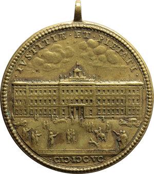 R/ Innocenzo XII (1691-1700),  Antonio Pignatelli. Medaglia A. IV.    Miselli 316. AE.     Con appiccagnolo. Doratura qSPL.