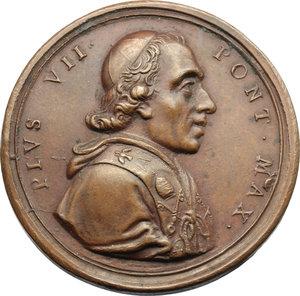 D/ Pio VII (1800-1823), Barnaba Chiaramonti. Medaglia 1805 per la visita del Pontefice a Perugia, di ritorno da Parigi.    Patr. 42. AE.   mm. 38.00    SPL.