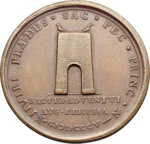R/ Pio VII (1800-1823), Barnaba Chiaramonti. Medaglia 1805 per la visita del Pontefice a Perugia, di ritorno da Parigi.    Patr. 42. AE.   mm. 38.00    SPL.