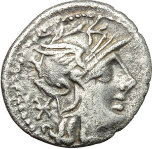 obverse: Ti. Minucius C. f Augurinus.  AR Denarius, 134 BC. Obv. Helmeted head of Roma right; behind, X. Rev. TI. MINVCI C F-AVGVRINI. Ionic column surmounted by statue holding staff; above, RO-MA; on either side, togate figure and ear of barley. Cr. 243/1. B. 9. AR. g. 3.62  mm. 19.00   Nice and toned. VF.