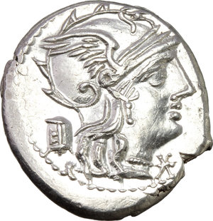 obverse: M. Marcius Mn. f.  AR Denarius, 134 BC. Obv. Helmeted head of Roma right; below chin, X; behind, modius. Rev. Victory in biga right; below, M MARC/ROMA divided by two corn-ears. Cr. 245/1. B. 8. AR. g. 3.93  mm. 19.00   Lustrous, virtually as struck. About FDC.