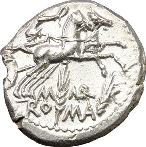 reverse: M. Marcius Mn. f.  AR Denarius, 134 BC. Obv. Helmeted head of Roma right; below chin, X; behind, modius. Rev. Victory in biga right; below, M MARC/ROMA divided by two corn-ears. Cr. 245/1. B. 8. AR. g. 3.93  mm. 19.00   Lustrous, virtually as struck. About FDC.