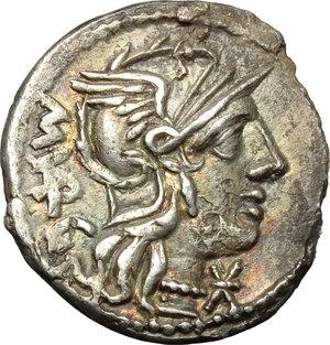 obverse: M. Vargunteius.  Fourrée (?) Denarius, 130 BC. Obv. Helmeted head of Roma right, M. VARG behind, X below chin. Rev. Jupiter in walking quadriga right; in exergue, ROMA. Cr. 257/1. AR. g. 3.32  mm. 19.50   Minor roughness. Toned, with reddish hues on obverse. Good VF/VF.