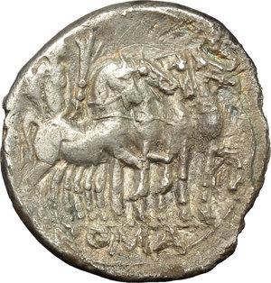 reverse: M. Vargunteius.  Fourrée (?) Denarius, 130 BC. Obv. Helmeted head of Roma right, M. VARG behind, X below chin. Rev. Jupiter in walking quadriga right; in exergue, ROMA. Cr. 257/1. AR. g. 3.32  mm. 19.50   Minor roughness. Toned, with reddish hues on obverse. Good VF/VF.