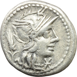 obverse: Cn. Domitius Ahenobarbus.  AR Denarius, 128 BC. Obv. Helmeted head of Roma right; behind, corn-ear; before, X. Rev. Victory in biga right, holding reins and whip; above, ROMA; below, man fighting lion (or hound?); in exergue, CN DOM. Cr. 261/1. B. 14. AR. g. 3.81  mm. 19.00   Pleasant and nicely toned. VF.