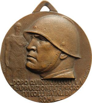obverse: Benito Mussolini (1883-1945), Duce d Italia. Medaglia con appiccagnolo A.XV  Mantova ai suoi Legionari.    Cas.manca. AE.   mm. 44.00 Inc. Monti. R.