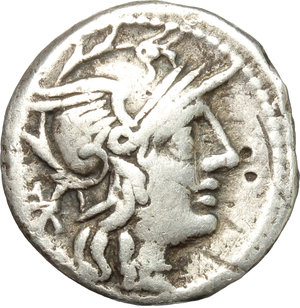 obverse: L. Caecilius Metellus Diadematus.  AR Denarius, 128 BC. Obv. Helmeted head of Roma right; behind, X. Rev. Goddess in biga right, holding sceptre and reins in left hand and branch in right; below horses, elephant s head with bell attached/ROMA. Cr. 262/1. B. (Caecilia) 38. AR. g. 3.58  mm. 17.00    VF.