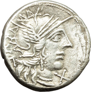 obverse: Q. Minucius Rufus.  AR Denarius, 122 BC. Obv. Helmeted head of Roma right; below chin, X; behind, ROMA. Rev. The Dioscuri galloping right; below horses, Q. MINV; in exergue, RVF. Cr. 277/1. B. 1. AR. g. 3.79  mm. 18.00   Well centred, lightly toned. VF.