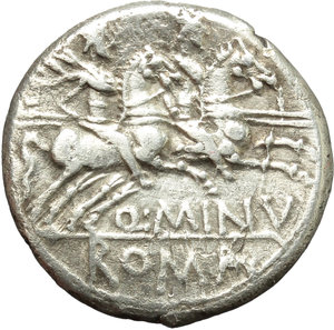 reverse: Q. Minucius Rufus.  AR Denarius, 122 BC. Obv. Helmeted head of Roma right; below chin, X; behind, ROMA. Rev. The Dioscuri galloping right; below horses, Q. MINV; in exergue, RVF. Cr. 277/1. B. 1. AR. g. 3.79  mm. 18.00   Well centred, lightly toned. VF.