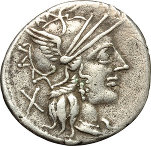 obverse: Cn. Carbo.  AR Denarius, 121 BC. Obv. Helmeted head of Roma right; behind, X. Rev. Jupiter in quadriga right; below horses, CARB; in exergue, ROMA. Cr. 279/1. B. (Papiria) 7. AR. g. 3.72  mm. 20.50   Good metal. Well centred on a broad flan and lightly toned. VF.