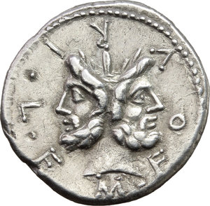 obverse: M. Furius L.f. Philus.  AR Denarius, 119 BC. Obv. M. FOVRI. L. F around laureate head of Janus. Rev. Roma standing left, wearing Corinthian helmet and holding sceptre, crowning trophy flanked by a carnyx and shield on each side; above her head, star; to right, ROMA; in exergue, PHLI. Cr. 281/1. B. 18. AR. g. 3.72  mm. 19.50   Great metal and broad flan. In excellent condition for the issue, brilliant and lightly toned. About EF/Good VF.
