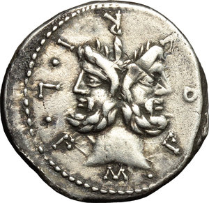 obverse: M. Furius L.f. Philus.  AR Denarius, 119 BC. Obv. M. FOVRI. L. F around laureate head of Janus. Rev. Roma standing left, wearing Corinthian helmet and holding sceptre, crowning trophy flanked by a carnyx and shield on each side; above her head, star; to right, ROMA; in exergue, PHLI. Cr. 281/1. B. 18. AR. g. 3.80  mm. 20.00   Good metal and broad flan. Nicely toned. Good VF.