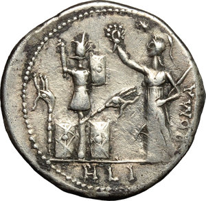 reverse: M. Furius L.f. Philus.  AR Denarius, 119 BC. Obv. M. FOVRI. L. F around laureate head of Janus. Rev. Roma standing left, wearing Corinthian helmet and holding sceptre, crowning trophy flanked by a carnyx and shield on each side; above her head, star; to right, ROMA; in exergue, PHLI. Cr. 281/1. B. 18. AR. g. 3.80  mm. 20.00   Good metal and broad flan. Nicely toned. Good VF.