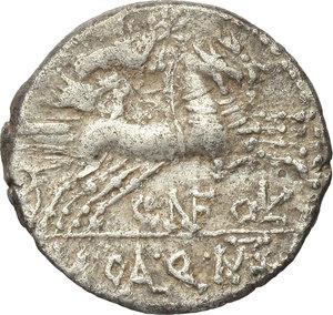 reverse: Cn. Fulvius, M. Calidius and Q. Metellus.  AR Denarius, 117-116 BC. Obv. Head of Roma right, X below chin, ROMA behind. Rev. Victory in biga right, CN FOVL below horses, M CAL Q MET in exergue. Cr. 284/1b. B.1. AR. g. 3.81  mm. 18.00   Untouched and lightly toned. Good VF/VF.