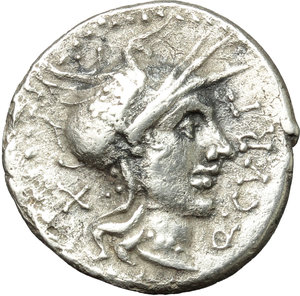 obverse: Q. Curtius.  AR Denarius, 116 or 115 BC. Obv. Helmeted head of Roma right; before, Q. CVRT; behind, X. Rev. Jupiter in quadriga right, holding sceptre and hurling thundebolt; above, lituus; below, M. SILA; in exergue, ROMA. Cr. 285/2. B. 2. AR. g. 3.53  mm. 19.00   Perfectly centred and nicely toned. Roughness, otherwise VF.
