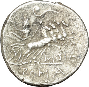 reverse: Q. Curtius.  AR Denarius, 116 or 115 BC. Obv. Helmeted head of Roma right; before, Q. CVRT; behind, X. Rev. Jupiter in quadriga right, holding sceptre and hurling thundebolt; above, lituus; below, M. SILA; in exergue, ROMA. Cr. 285/2. B. 2. AR. g. 3.53  mm. 19.00   Perfectly centred and nicely toned. Roughness, otherwise VF.