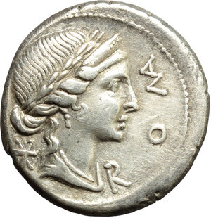 obverse: Mn. Aemilius Lepidus.  AR Denarius, 114 or 113 BC. Obv. Laureate and diademed head of Roma right; before, ROMA, behind, X. Rev. Three arches on which stands equestrian statue; around MN AEMILIO; between arches, LEP. Cr. 291/1. B. 7. AR. g. 3.93  mm. 19.00   Good metal and full weight. Prettily toned, with lovely golden hues. About EF/Good VF.