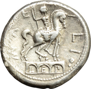 reverse: Mn. Aemilius Lepidus.  AR Denarius, 114 or 113 BC. Obv. Laureate and diademed head of Roma right; before, ROMA, behind, X. Rev. Three arches on which stands equestrian statue; around MN AEMILIO; between arches, LEP. Cr. 291/1. B. 7. AR. g. 3.93  mm. 19.00   Good metal and full weight. Prettily toned, with lovely golden hues. About EF/Good VF.